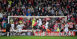 SHEFFIELD, ENGLAND - Saturday, March 17, 2012: Tranmere Rovers' goalkeeper Owain Fon Williams punches clear against Sheffield United during the Football League One match at Bramall Lane. (Pic by David Rawcliffe/Propaganda)