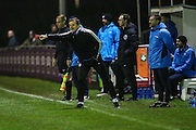 Forest Green Rovers manager, Mark Cooper shouts instructions during the FA Trophy match between Truro City and Forest Green Rovers at Treyew Road, Truro, United Kingdom on 13 December 2016. Photo by Shane Healey.