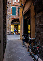 LUCCA ITALY - CIRCA MAY 2015:  A typical street in Lucca, a famous medieval town in Tuscany.