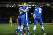 Brighton central midfielder, Beram Kayal (7) congratulates Brighton striker, Tomer Hemed (10) after his goal during the Sky Bet Championship match between Brighton and Hove Albion and Fulham at the American Express Community Stadium, Brighton and Hove, England on 15 April 2016. Photo by Phil Duncan.