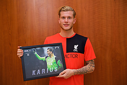 LIVERPOOL, ENGLAND - Friday, December 9, 2016: Liverpool's goalkeeper Loris Karius with the Goal.com 25 award at the club's Melwood Training Ground. (Pic by David Rawcliffe/Propaganda)