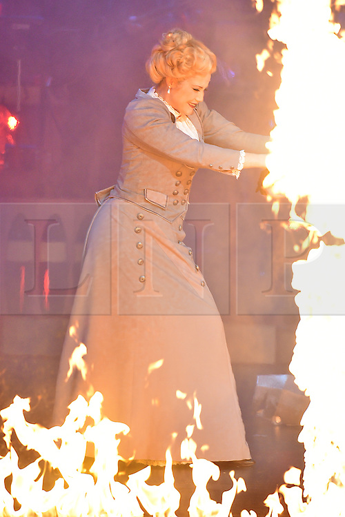 © Licensed to London News Pictures. 12/02/2016. © Licensed to London News Pictures. 12/02/2016. Cast members HEIDI RANGEappears in costume for a photocall for H.G Wells classic War Of The Wells at the Dominion Theatre.  London, UK. Photo credit: Ray Tang/LNP