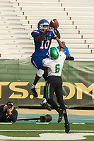 Folsom Bulldogs Joe Ngata (10), catches the ball for a touchdown as St. Marys Rams Jordan Doyle (6), defends to lead 34-7 after the missed point after attempt during the second quarter as the Folsom Bulldogs play the St. Mary's Rams in the Sac-Joaquin Section Division I championship game at Hornet Stadium at Sacramento State, Saturday Dec 2, 2017. <br /> photo by Brian Baer
