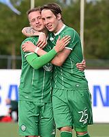 22/07/15 UEFA CHAMPIONS LEAGUE QUALIFIER 2ND LEG<br /> STJARNAN v CELTIC <br /> STJORUVOLLUR - ICELAND<br /> Celtic's Leigh Griffiths (left) celebrates with Stefan Johansen