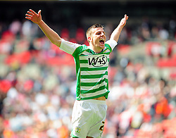 Yeovil Town's Kevin Dawson  celebrates Yeovil Town's promotion into the Npower Championship after winning the League 1 Play-Off Final - Photo mandatory by-line: Dougie Allward/JMP - Tel: Mobile: 07966 386802 19/05/2013 - SPORT - FOOTBALL - LEAGUE 1 - PLAY OFF - FINAL - Wembley Stadium - London - Brentford V Yeovil Town