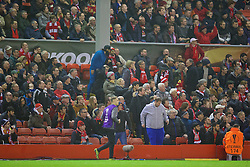 LIVERPOOL, ENGLAND - Thursday, November 26, 2015: Liverpool supporters begin to leave the ground before the final whistle with the score 2-1 during the UEFA Europa League Group Stage Group B match against FC Girondins de Bordeaux at Anfield. (Pic by David Rawcliffe/Propaganda)
