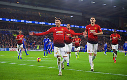 CARDIFF, WALES - Saturday, December 22, 2018: Manchester United's Jesse Lingard celebrates scoring the fourth goal during the FA Premier League match between Cardiff City FC and Manchester United FC at the Cardiff City Stadium. Manchester United won 5-1.(Pic by Vegard Grøtt/Propaganda)