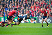 Chris Dean (#12) of Edinburgh Rugby scores a try during the Heineken Champions Cup quarter-final match between Edinburgh Rugby and Munster Rugby at BT Murrayfield Stadium, Edinburgh, Scotland on 30 March 2019.