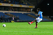 Ellis Harrison (22) of Portsmouth takes a penalty during the shoot out at full time after a 2-2 draw during the Leasing.com EFL Trophy match between Oxford United and Portsmouth at the Kassam Stadium, Oxford, England on 8 October 2019.