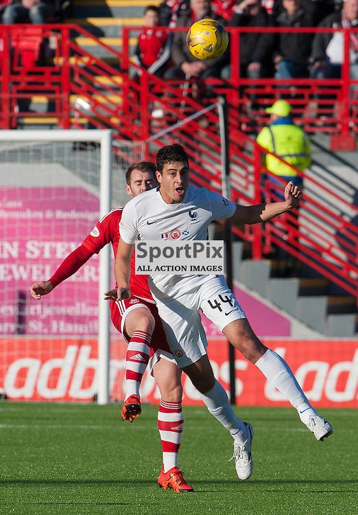 #44 Lucas Tagliapietra (Hamilton Academical) clears from #10 Niall McGinn (Aberdeen)<br /> <br /> SPFL Premiership<br /> Hamilton Academical v Aberdeen<br /> New Douglas Park, Hamilton<br /> Sunday 22 November 2015<br /> <br /> &copy; Russel Hutcheson | SportPix 2015