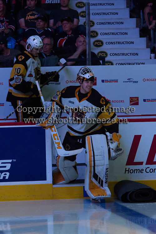 REGINA, SK - MAY 25: Kaden Fulcher #33 of Hamilton Bulldogs enters the ice from the dressing room against the Regina Pats at the Brandt Centre on May 25, 2018 in Regina, Canada. (Photo by Marissa Baecker/CHL Images)