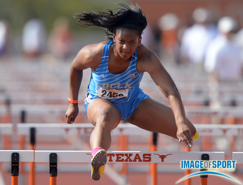 Mar 28, 2014; Austin, TX, USA; Trinity Wilson of UCLA runs 13.80 in a womens 100m hurdles heat in the 87th Clyde Littlefield Texas Relays at Mike A. Myers Stadium.