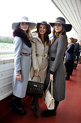 Left to right, KATIE READMAN, LAVINIA BRENNAN and LADY NATASHA RUFUS-ISAACS at the Hennessy Gold Cup at Newbury Racecourse, Berkshire on 26th November 2011.