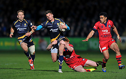 Ben Howard of Worcester Warriors goes on the attack - Photo mandatory by-line: Patrick Khachfe/JMP - Mobile: 07966 386802 27/05/2015 - SPORT - RUGBY UNION - Worcester - Sixways Stadium - Worcester Warriors v Bristol Rugby - Greene King IPA Championship Play-off Final (Second leg)