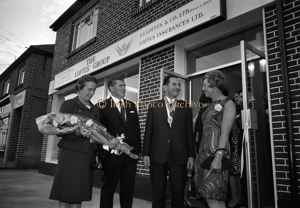 19/07/1967<br /> 07/19/1967<br /> 19 July 1967<br /> Opening of Intercontinental Travel Ltd. at Crumlin Cross, Dublin. The company, an associate company of the Loftus group of Companies was the first Irish Travel Agency to be opened in the outer  suburbs of Dublin. Photo shows (l-r): Mrs Oliver Flanagan; Mr. J.J. Lotus, Director of the Group; Mr. Oliver Flanagan, T.D., President of the Irish Auctioneers Association and Mrs Loftus, Director of the group, outside the new office.