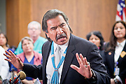 22 FEBRUARY 2011 - PHOENIX, AZ: State Sen Albert Hale talks about the effect of European immigrants on Native American populations during a press conference on immigration at the State Capitol in Phoenix Tuesday. Hundreds of people including supporters of immigrants' rights, supporters of border defense, motorcycle riders and members of the Tea Party, converged on the capitol to express their views on bills.     PHOTO BY JACK KURTZ