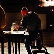 Chris Reed catches beers during Gelande practice.