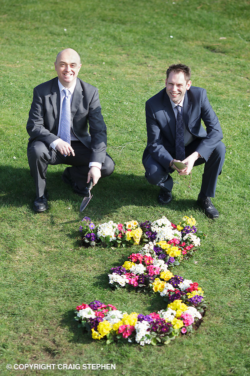 Gardening Scotland have announced their commitment to the Royal Highland Centre for the next 3 years today and celebrated with some flowers in the shape of a 3 to mark this, Martin Dare from Gardening Scotland and Archie Glendinning from the Royal Highland Centre are seen here. Queries: O'LEARY RMPR  01383 432608 rachel@olearypr.co.uk