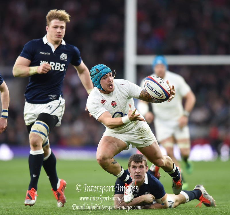 Twickenham, Great Britain, Jack NOWELL, pulls his fumbled ball into his body, during the Six Nations Rugby England vs Scotland, played at the RFU Stadium, Twickenham, ENGLAND. Saturday 14/03/2015<br /> <br /> [Mandatory Credit; Peter Spurrier/Intersport-images]