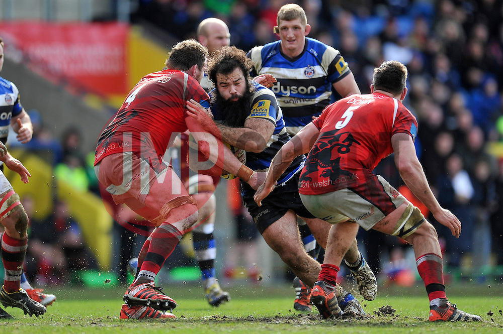 Kane Palma-Newport of Bath Rugby takes on the London Welsh defence - Photo mandatory by-line: Patrick Khachfe/JMP - Mobile: 07966 386802 29/03/2015 - SPORT - RUGBY UNION - Oxford - Kassam Stadium - London Welsh v Bath Rugby - Aviva Premiership