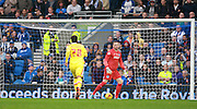 MK Dons striker Nicky Maynard pulls a goal back for MK Dons during the Sky Bet Championship match between Brighton and Hove Albion and Milton Keynes Dons at the American Express Community Stadium, Brighton and Hove, England on 7 November 2015. Photo by Bennett Dean.