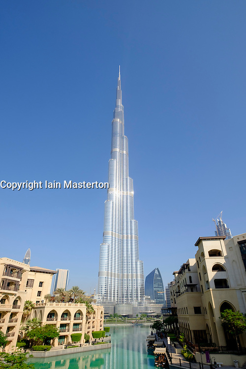 View of Burj Khalifa skyscraper , world's tallest building and lake in Dubai United Arab Emirates