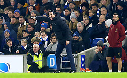 "Arsenal manager Unai Emery gestures on the touchline during the Premier League match at the AMEX Stadium, Brighton. PRESS ASSOCIATION Photo. Picture date: Wednesday December 26, 2018. See PA story SOCCER Brighton. Photo credit should read: Gareth Fuller/PA Wire. RESTRICTIONS: EDITORIAL USE ONLY No use with unauthorised audio, video, data, fixture lists, club/league logos or ""live"" services. Online in-match use limited to 120 images, no video emulation. No use in betting, games or single club/league/player publications."