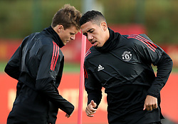 Manchester United's Chris Smalling and Victor Lindelof train - Mandatory by-line: Matt McNulty/JMP - 11/09/2017 - FOOTBALL - AON Training Complex - Manchester, England - Manchester United v FC Basel - Press Conference & Training - UEFA Champions League - Group A