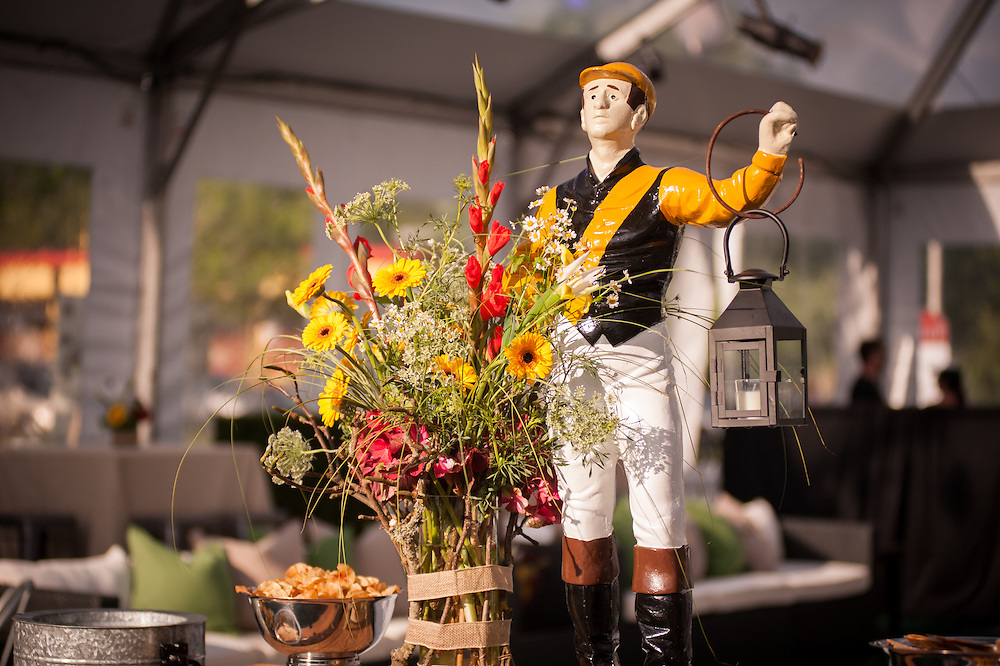 Table decoration of flowers and a jockey in Baltimore, MD, USA