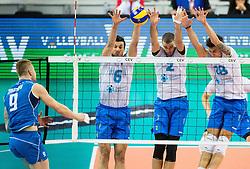 17-10-2015 BUL: Volleyball European Championship Slovenie - Italie, Sofia<br /> Semifinal in Arena Armeec Sofia / Ivan Zaytsev of Italy vs Mija Gasparini #6 of Slovenia, Alen Pajenk #2 of Slovenia and Klemen Cebulj #18 of Slovenia<br /> Photo: Vid Ponikvar / RHF<br /> +++USE NETHERLANDS ONLY+++