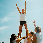US Cheerleaders practicing routine