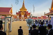 "04 FEBRUARY 2013 - PHNOM PENH, CAMBODIA:  The crematorium during the cremation of King-Father Norodom Sihanouk in Phnom Penh. Norodom Sihanouk (31 October 1922 - 15 October 2012) was the King of Cambodia from 1941 to 1955 and again from 1993 to 2004. He was the effective ruler of Cambodia from 1953 to 1970. After his second abdication in 2004, he was given the honorific of ""The King-Father of Cambodia."" Sihanouk died in Beijing, China, where he was receiving medical care, on Oct. 15, 2012.   PHOTO BY JACK KURTZ"