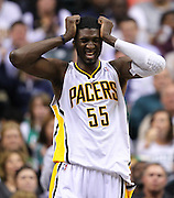 March 28, 2011; Indianapolis, IN, USA; Indiana Pacers center Roy Hibbert (55) reacts after a play against the Boston Celtics at Conseco Fieldhouse. Indiana defeated Boston 107-100. Mandatory credit: Michael Hickey-US PRESSWIRE