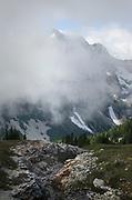Whatcom Peak shrouded in clouds, North Cascades National Park Washington