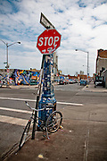 Stop sign at the corner of Morgan Avenue and Harrisson Place in Bushwick, Brooklyn, 2011