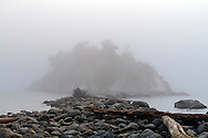 Fog obscures the island at Whytecliff Park in West Vancouver, British Columbia, Canada.