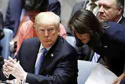 October 9, 2018 -  PICTURED: United Nations Ambassador Nikki Haley will resign from her role in the Trump administration, White House officials announced. PICTURED: Sept. 26, 2018 - New York, New York, U.S.- NIKKI HALEY (R) tallks to U.S. President Donald Trump prior to a Security Council meeting at the UN headquarters in New York,. U.S. President Donald Trump said on Tuesday he has accepted Nikki Haley's resignation as the country's ambassador to the United Nations. (Credit Image: © Li Muzi/Xinhua via ZUMA Wire)