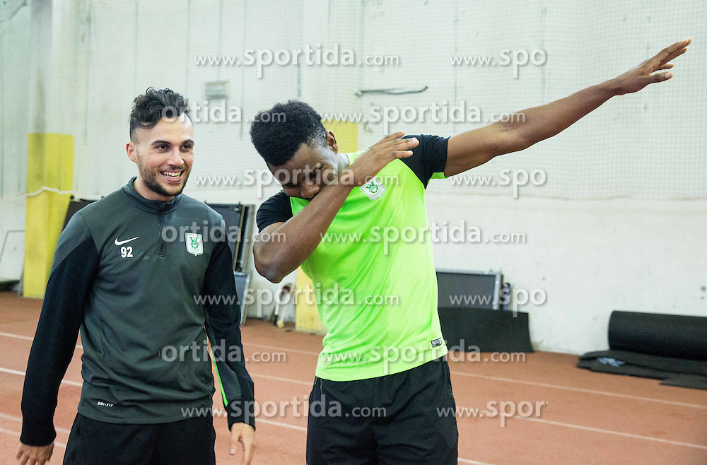 Martin Mimoun and Ezekiel Isoken Henty during first training of NK Olimpija Ljubljana before spring season when presented Olimpija's new coach, on January 11, 2016 in ZAK stadium, Ljubljana, Slovenia. Photo by Vid Ponikvar / Sportida
