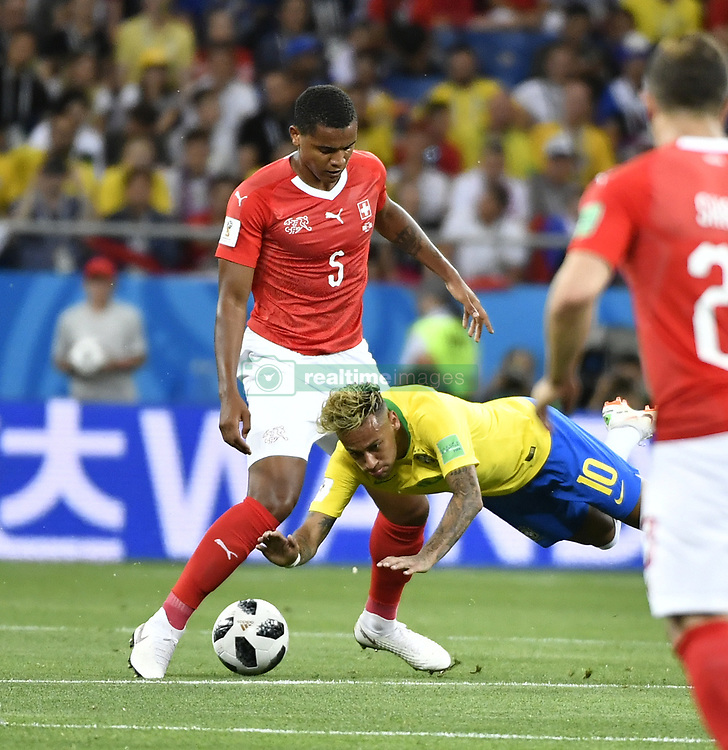 ROSTOV-ON-DON, June 17, 2018  Neymar (C) of Brazil competes during a group E match between Brazil and Switzerland at the 2018 FIFA World Cup in Rostov-on-Don, Russia, June 17, 2018. The match ended in a 1-1 draw. (Credit Image: © Chen Yichen/Xinhua via ZUMA Wire)