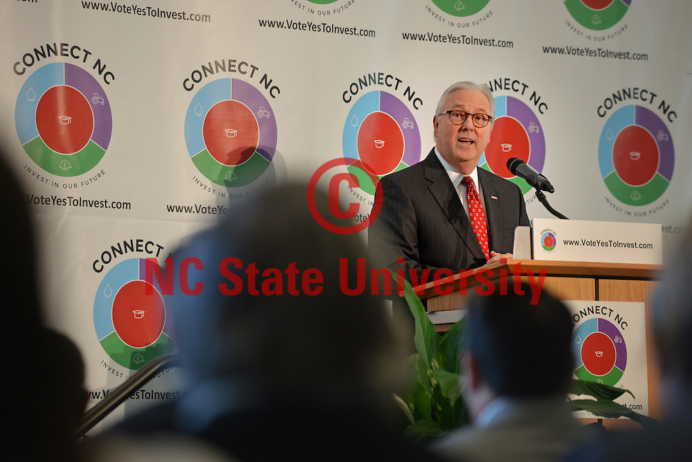 NC State Chancellor Randy Woodson speaks at Hunt Library on NC State's Centennial Campus during the bond kick-off event.