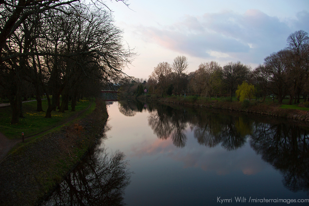 Europe, United Kingdom, Wales, Cardiff.  Taff River reflections in Cardiff.