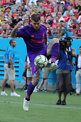 July 22, 2018 - Charlotte, NC, U.S. - CHARLOTTE, NC - JULY 22: Liverpool defender Alberto Moreno (18) during the 2nd half of the International Champions Cup match between Liverpool FC and Borussia Dortmund on July 22, 2018 at Bank of America Stadium in Charlotte, NC.(Photo by Jaylynn Nash/Icon Sportswire) (Credit Image: © Jaylynn Nash/Icon SMI via ZUMA Press)
