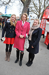 Left to right, the HON.BELLA LLOYD WEBBER, LADY LLOYD WEBBER and ISSY at the Hennessy Gold Cup at Newbury Racecourse, Berkshire on 26th November 2011.