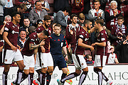 Heats celebrate a goal in the first half during the Ladbrokes Scottish Premiership match between Heart of Midlothian and St Johnstone at Tynecastle Stadium, Gorgie, Scotland on 2 August 2015. Photo by Craig McAllister.