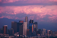 LA Skyline and Stormy Winter Sunset on Mount Baldy, California