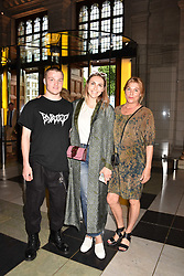 Becky Tong with her brother Max and their mother at the Balenciaga Shaping Fashion VIP Preview, The V&A Museum, London England. 24 May 2017.<br /> Photo by Dominic O'Neill/SilverHub 0203 174 1069 sales@silverhubmedia.com