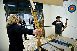 MCH: Ferie for alle 2012DK caption:.Herning, Danmark, 20120224: MCH Messe - Ferie for alle. Bueskydning.Foto: Lars Møller.UK Caption:.Herning, Denmark, 20120224: MCH Fair - Ferie for alle. Archery.Photo: Lars Moeller