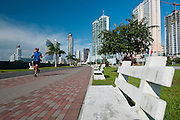 People getting fit at Cinta Costera bayside road. Panama City, Panama, Central America.