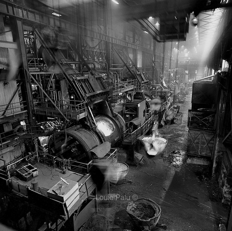 Converter aisle, Falconbridge Smelter, Falconbridge, Ontario. From the book Cage Call: Life and Death in the Hard Rock Mining Belt. An in-depth project spanning over 12-years examining communities in one of the richest mining regions in the world located in Northwestern Ontario and Northeastern Quebec in Canada.