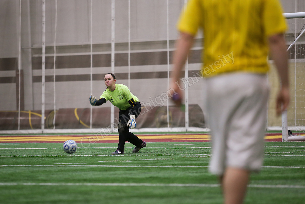 Students at Central Michigan University play in the semi finals for intramural soccer at the Indoor Activity Center.